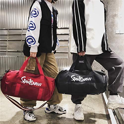 YQSMYSW Fitness Bag Female Sports Training Bag Portable Yoga Bag Duffel Bag Short-Distance Travel Bag Male Shoulder Color : Black, Size : 472525