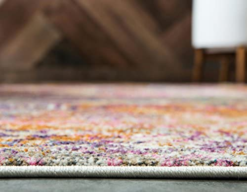 Unique Loom Aurora Collection Floral Abstract Over-Dyed Vintage Dark Beige Area Rug 10 0 x 13 0