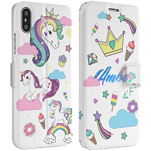 Wonder Wild Girly Unicorn iPhone Wallet Case X/Xs Xs Max Xr Case 7/8 Plus 6/6s Plus Card Holder Accessories Smart Flip Hard Design Protection Cover Rainbow Crown Little Princess Diamond Monogram
