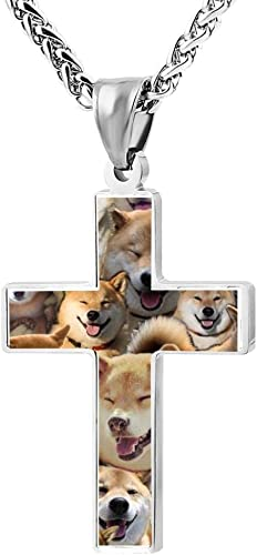 LUQeo Husky Cross Necklace Christ Pendant Cool Jesus Jewelry