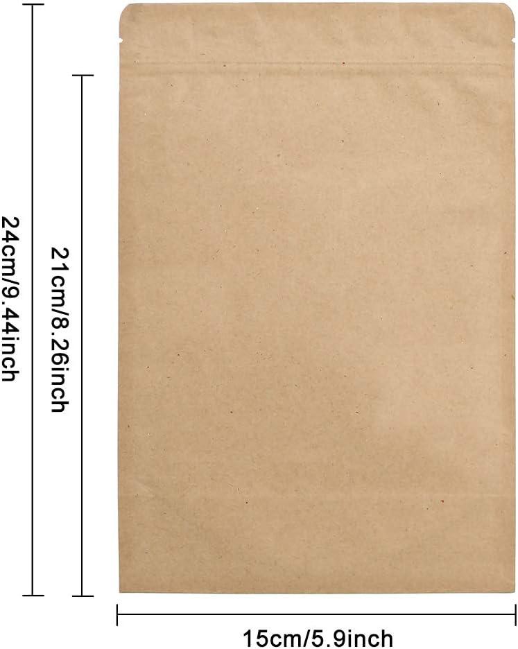13x21cm SumDirect 50 piezas con cierre de cremallera Kraft Cerradura Lev/ántese las bolsas Bolsas de comida con papel de aluminio resistente forrado para el almacenamiento de alimentos
