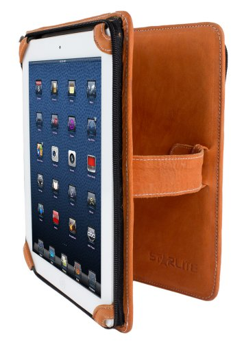 Unisex Executive Ipad Tasche/ Folio mit Gurt und Griff echte 100% Leder Orange