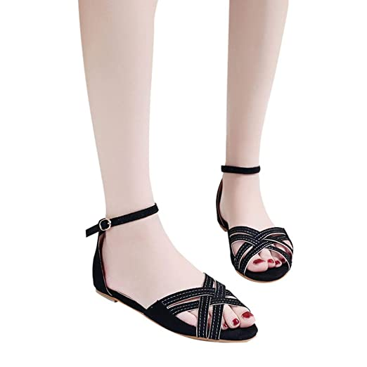 c4503185ee6 BSGSH Womens Bohemia Cross Strap Sandals Flip Flop Gladiator Flat Shoes  (8.5 M US
