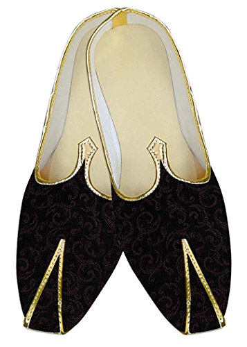 INMONARCH Mens Black Polyester Wedding Shoes Wine Design MJ11120 Black fsaZcH