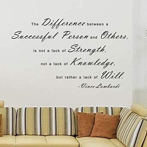 Pop Decors WL-0044-Va Inspirational Quote Wall Decal, The Difference Between A Successful Person and Others by Pop Decors