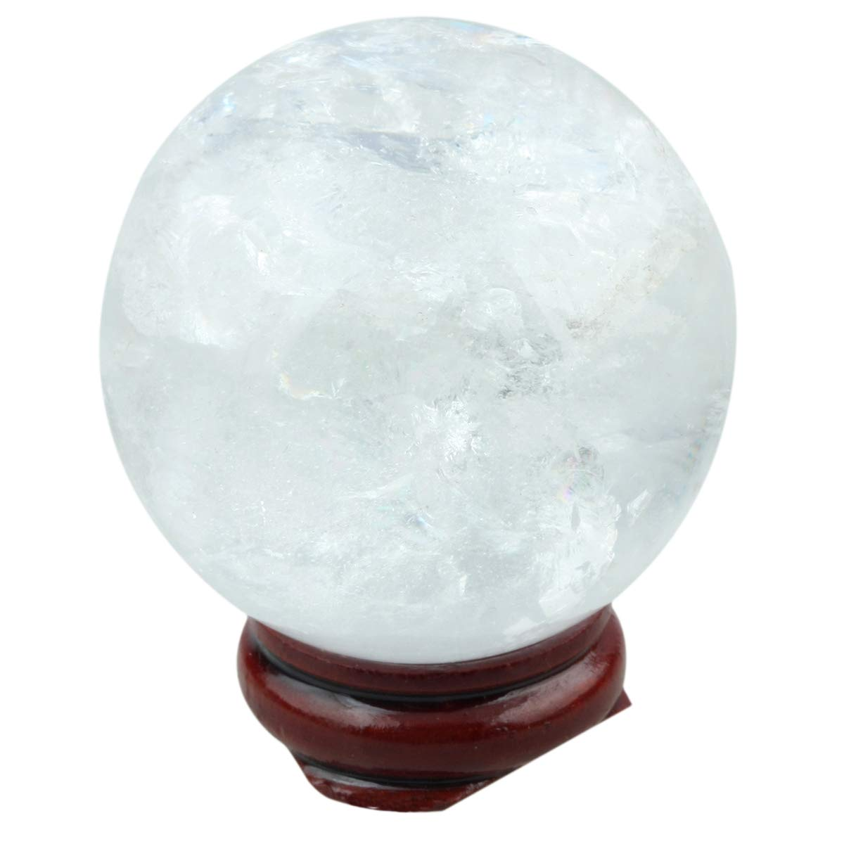 Loveliome 40 mm Tiger Iron Gem Healing Crystal Ball Home Decoration Fengshui Divination Sphere with Wood Stand