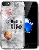 Iphone 8 Case / Iphone 7 Case / IWONE Apple Iphone 7/8 Case Tpu Skin Cover Protective Rubber Silicone + Creative Painting Basketball Quotes Ball Is Life