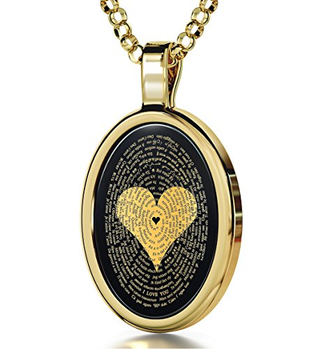 Gold Plated Love Necklace Pendant 24k Gold Inscribed I Love You in 120 Languages Onyx, 18