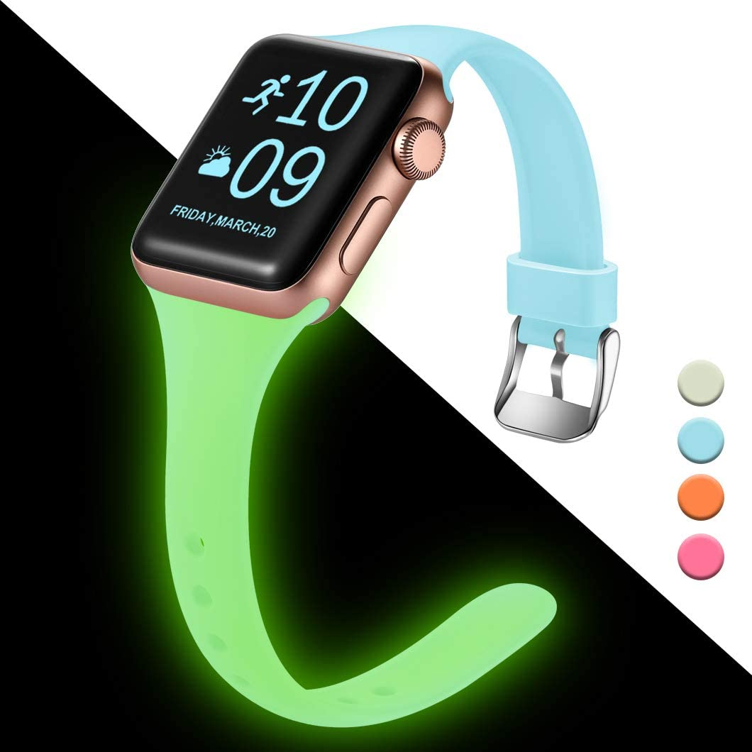 Henva Slim Band compatible with Apple Watch SE Band 40mm 38mm, Replacement Accessories Soft Durable Silicone Thin Strap for Apple/iWatch Series 6/5/4/3/2/1, Nightglow Blue, S/M
