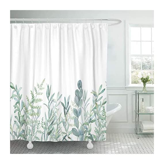 """Emvency Fabric Shower Curtain Curtains with Hooks Green Eucalyptus Watercolor Floral Pattern Botanical Artistic Border Botany Bouquet Branch Christmas Clip 72""""X72"""" Waterproof Decorative Bathroom - Water repellent: Shower curtain waterproof a firm yet smooth texture, which promotes water bead formation and prevents curtain soaking and bathroom floor messes. Small water beads form across the curtain, affording gentle water removal and swift shower curtain drying. Reliable: Reinforced ring/hook holes for easy hanging,rust-proof metal grommets prevents tearing,durable throughout long term use. Quick dry.Easily to be cleaned and maintained.Machine washable. - shower-curtains, bathroom-linens, bathroom - 51JIq4k630L. SS570  -"""