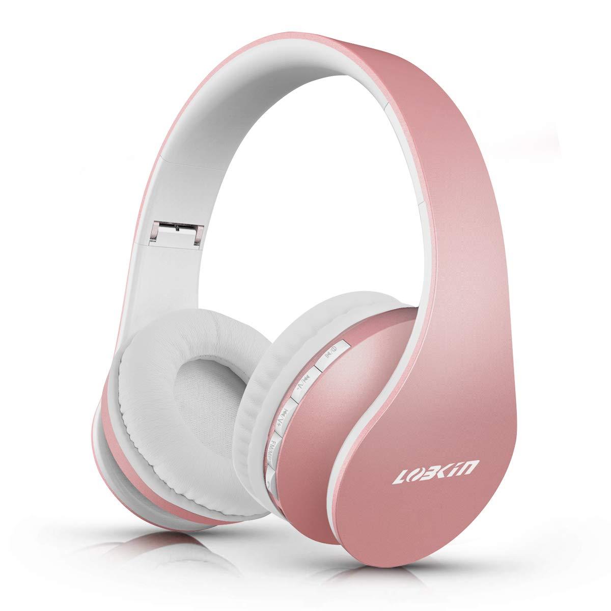 LOBKIN Bluetooth Kopfhörer, Over Ear Faltbare Headsets, Kabellos Stereo Kopfhörer mit Integriertem Mikrofon, TF/SD-Karte, FM Radio für iPhone, Android und PC
