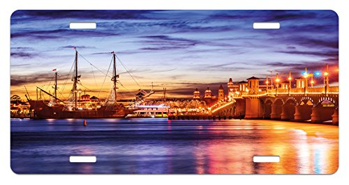 (Ambesonne United States License Plate, St. Augustine Florida Famous Bridge of Lions Dreamy Sunset Majestic, High Gloss Aluminum Novelty Plate, 5.88 L X 11.88 W Inches, Orange Blue Coral)