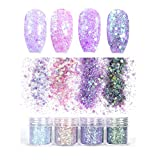 Laza 12 Colors 4.3oz /120g Glitter Nail Art Acrylic Nails Powder Mixed Sequins Iridescent Flakes Ultra-thin Paillette Sparkles Tips Chunky Box for Cosmetic Face Eyes Body Hair - Mermaid Princess
