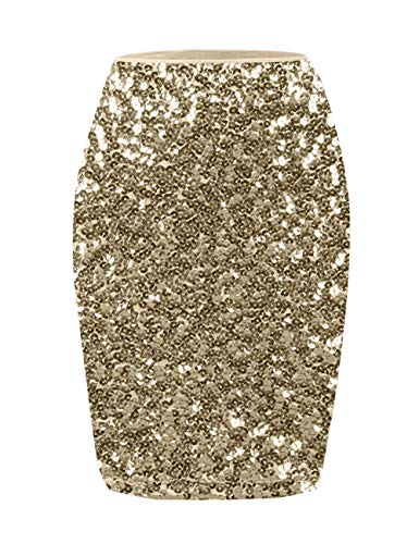 A-line Sequin - KISSMODA Ladies Shiny Bling Sequin High Waist A-Line Knee-Long Skirt for Party Club Prom Gold L