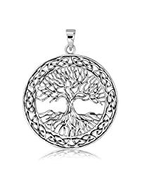 WithLoveSilver Solid 925 Sterling Silver Celtic Knots Tree of Life Earth Root Pendant