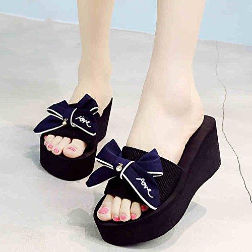 Mujeres Señoras Sandalias Zapatos de tacón alto de la playa de las sandalias de la manera del flip-flop (negro / azul / gris / rosa) Cómodo ( Color : Pink , Tamaño : 40 ) Azul