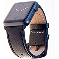 Carterjett Compatible Apple Watch Band XL Leather 44mm 42mm Carbon Fiber Dress iWatch Bands Replacement Strap Extra Large Compatible Apple iWatch Series 4 3 2 1 Hermes Edition Sport (42 44 XXL Black)