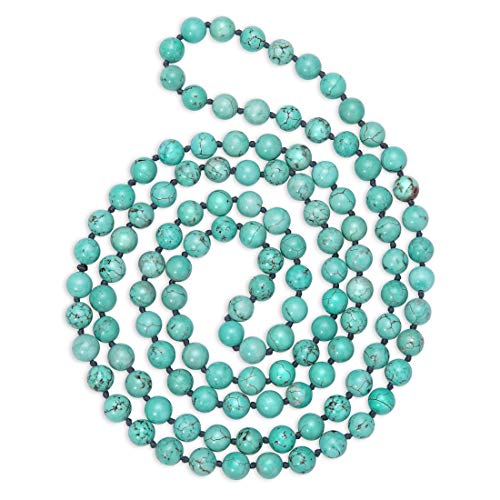 Natural Turquoise Necklace 8mm Stone Bead Long Handmade Knotted Jewelry for Women