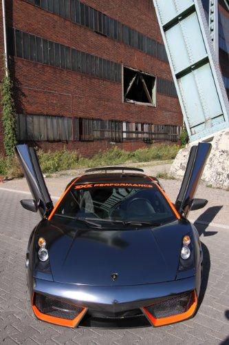 Lamborghini Gallardo LP560-4 by xXx Performance (2013) Car Art Poster Print on 10 mil Archival Satin Paper Black Front Open Door Portrait Static View 36
