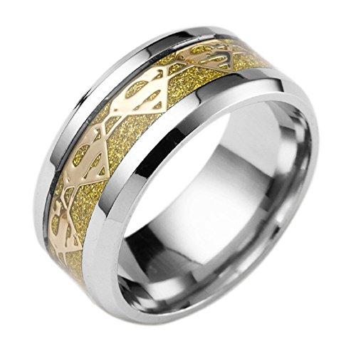 Feixingjewelry 8mm Gold Fiber Superman Symbol Men His Titanium Stainless Steel Silver Ring Band (12)]()