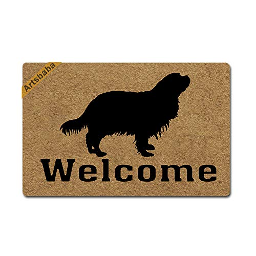 Artsbaba Welcome Dog Doormat Cavalier King Charles Spaniel Door Mat Rubber Non-Slip Entrance Rug Floor Mat Balcony Mat Funny Home Decor Indoor Mat 23.6 x 15.7 Inches, 0.18 Inch Thickness