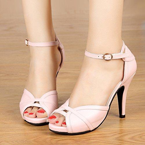 Buckle getmorebeauty Toes Peep Women's Black Pink Dress Heeled Sandals White XqHFXwxSr