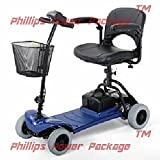 "Merits Health Products - Roadster - 4-Wheel Scooter - 15""W x 15""D - Blue - PHILLIPS POWER PACKAGE TM - TO $500 VALUE"