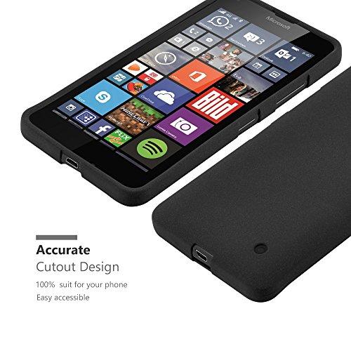Cadorabo - Cubierta protectora para Nokia Lumia 640 de silicona TPU en diseño Escarcha �?Case Cover Funda Carcasa Protección en FROST-NEGRO FROST-NEGRO