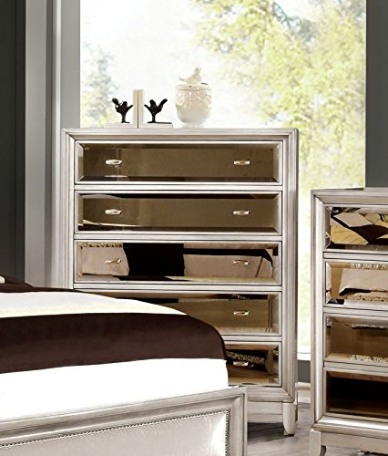 Furniture of America Sterling Contemporary Chest of Drawers, Silver