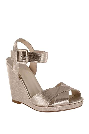9c31051987 Amazon.com   Crisscross Satin Dyeable Platform Wedge Sandals Style ...