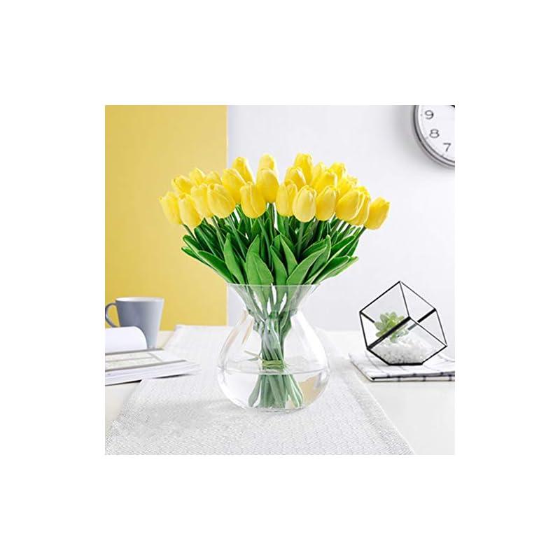 silk flower arrangements pu real touch tulips artificial flowers 10 pcs flowers arrangement bouquet for home office wedding decoration (yellow)