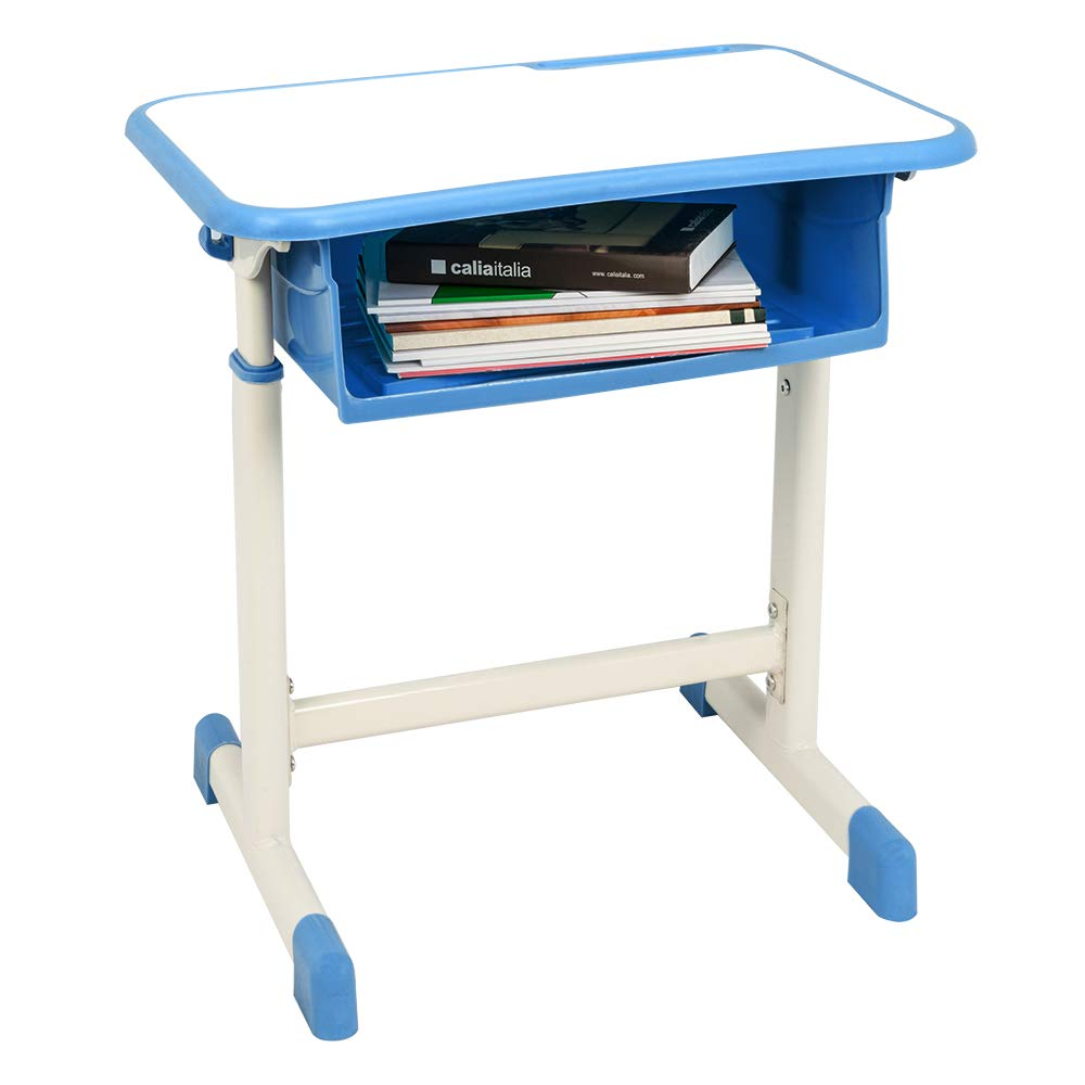 FCH Children's Desk and Chair Set,Height Adjustable Desk and Chair with Hanging Hooks and Pencil Groove (Blue) by FCH (Image #3)