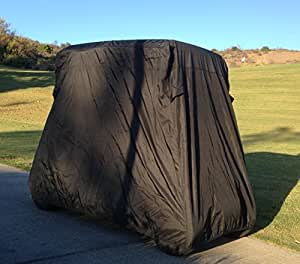 """Deluxe 2 Passenger Golf Cart Cover in Black roof up to 58"""", Fits E Z GO, Club Car and Yamaha G mode, also fits Organic transit's ELF"""
