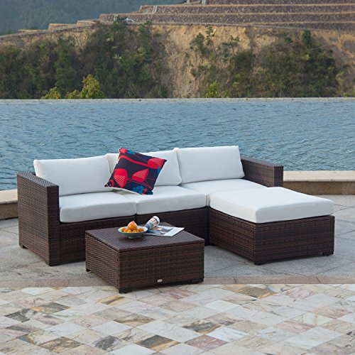 Auro Outdoor Furniture 5-Piece Sectional Sofa Set All-Weather Brown PE Wicker with Water Resistant Olefin Cushions for Patio Backyard Pool | Incl. Waterproof Cover&Clips(White) …