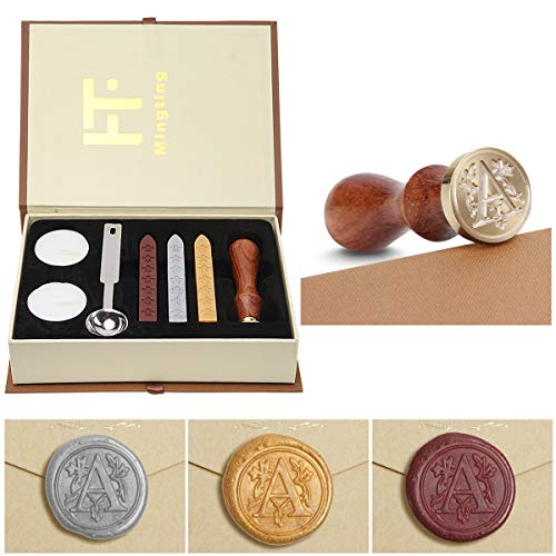 Wax Seal Stamp Kit,Mingting Vintage Wax Stamp Seal Kit Initial Letters Alphabet (A)