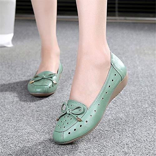 41 Suaves de 34 los Las Zapatos de Trabajo Huecos señoras Las cómodas FLYRCX Respirables UE Cuero Sandalias de EU Inferiores de Cuero Planas Calzan WBqxwR0TO