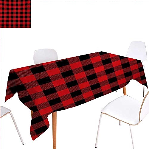 familytaste Plaid Rectangular Tablecloth Lumberjack Fashion Buffalo Style Checks Pattern Retro Style with Grid Composition Oblong Wrinkle Resistant Tablecloth 52