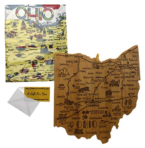 Ohio State Destination Bamboo Serving & Cutting Board Bundled with Ohio Kitchen -