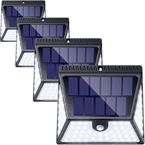 82 LED Solar Lights Outdoor 4 Pack, LUSCREAL Wireless Motion Sensor Light Outdoor Waterproof Solar Powered Motion Sensor Security Light Solar Wall Lights Outdoor for Front Door, Yard, Deck, Porch