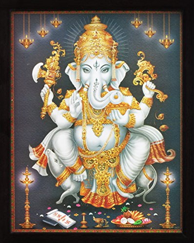 Lord Ganpati Ganesha Sitting on His Rider Rat and Wearing Arrangements, a Auspicious Hindi God Painting for Every Home / Office and Gift Purpose