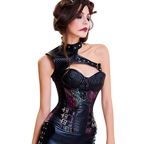 Corset Adult Halloween Costume (Lover-Beauty Women's Steel Boned Overbust Steampunk Bustiers Corsets Costumes Purple L)