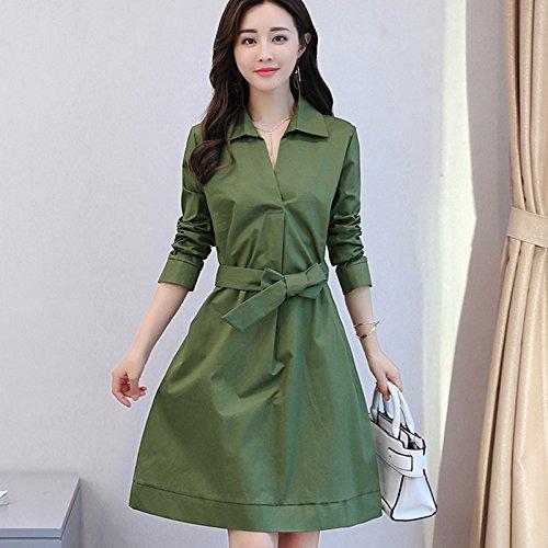f3b45488ea on sale GAOLIM Cintura Vestir Mujer Mujer En Primavera Y Otoño Sección  Larga Un Vestido Verde