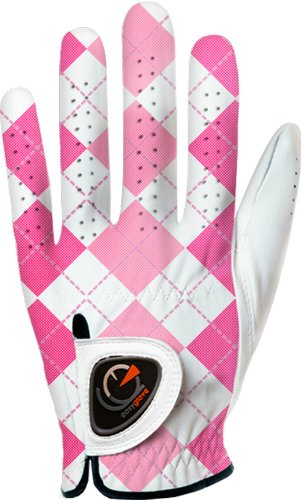 - easyglove British_Checkered-Pink-W Women's Golf Glove (White), Small, Worn on Left Hand