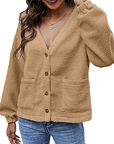 Women's Fuzzy Fleece Jacket Open Front Button Cardigan Coat Shaggy Jacket Outerwear With Pocket