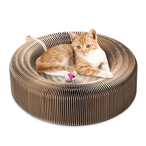 Cat ,Collapsible Cat Scratcher Lounge Post with Ball Toy Bell & Catnip, High Density Recycled Corrugated Kitty Scratching Pad Cats Turbo Toys