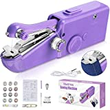 SAFETYON Handheld Sewing Machine Portable Mini Hand Sewing Machine Small Cordless Electric Quick Repairing Handy Stitch Tool Kits 31Pcs for Beginners, DIY Fabric Kids Cloth Pet Clothes, Purple
