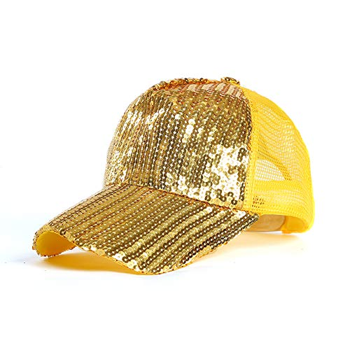 (Zoey's DreamHouse Ponycap Messy High Bun Ponytail Cap Magic Sequin Adjustable Breathable Baseball Hat Unisex (Yellow, 可调节))