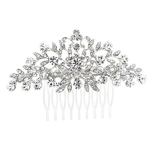 SEPBRDIALS Rhinestone Crystal Hair Comb Pins Women Wedding Hair Jewelry Accessories FA2944 (Silver)