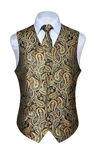 HISDERN Men's Paisley Floral Jacquard Waistcoat & Neck Tie and Pocket Square Vest Suit Set Gold
