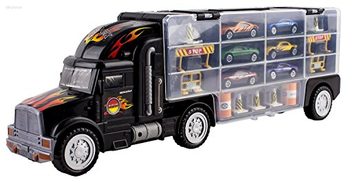 WolVol Transport Car Carrier Truck Toy for Boys (includes 6 cars and 28 slots)